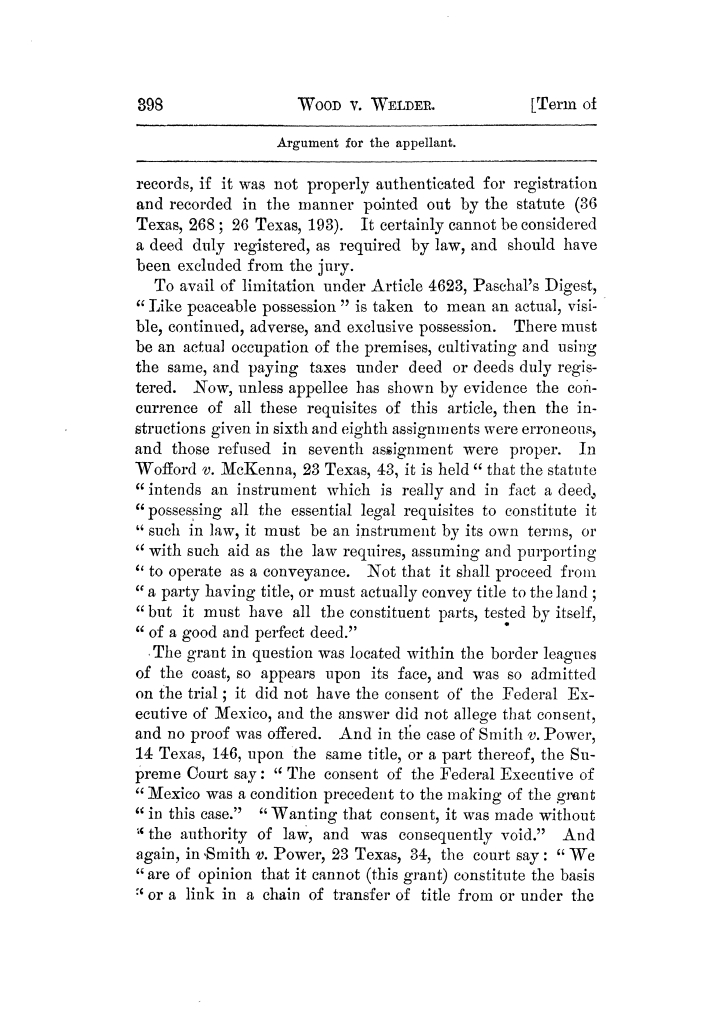 Cases argued and decided in the Supreme Court of Texas, during the latter part of the Tyler term, 1874, and the first part of the Galveston term, 1875.  Volume 42.                                                                                                      398
