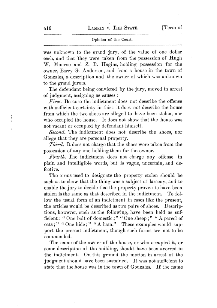 Cases argued and decided in the Supreme Court of Texas, during the latter part of the Tyler term, 1874, and the first part of the Galveston term, 1875.  Volume 42.                                                                                                      416