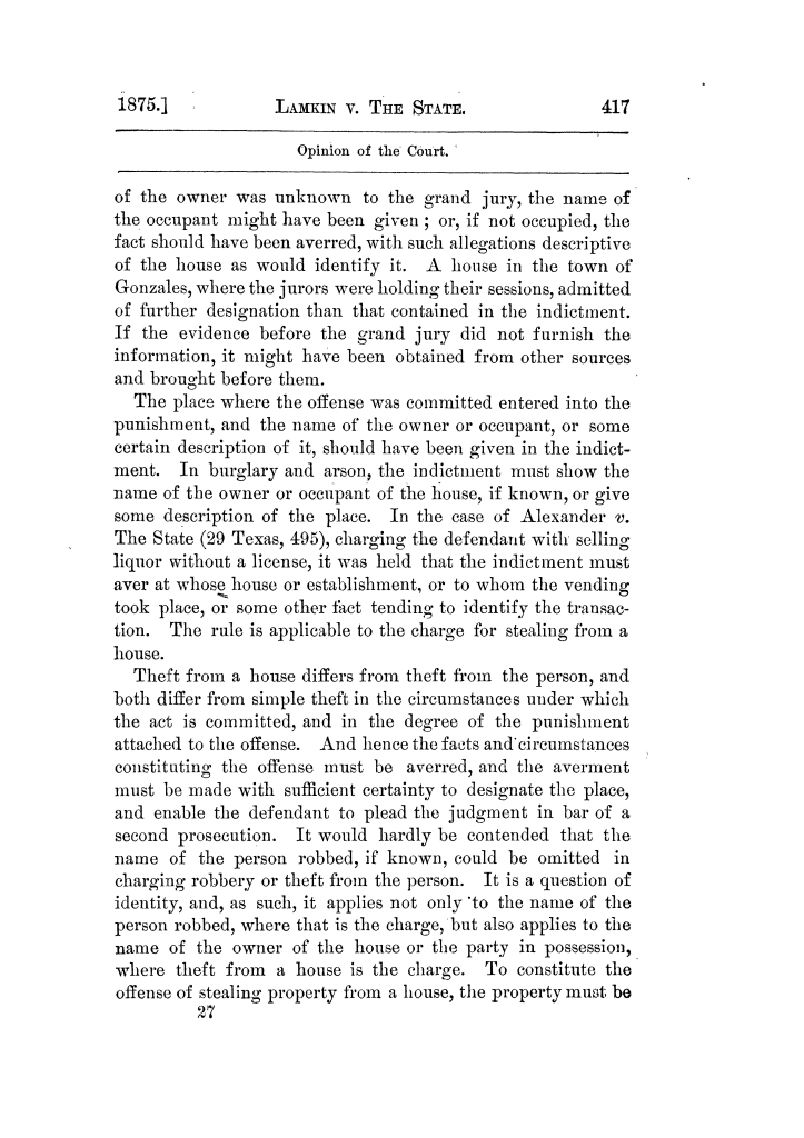 Cases argued and decided in the Supreme Court of Texas, during the latter part of the Tyler term, 1874, and the first part of the Galveston term, 1875.  Volume 42.                                                                                                      417
