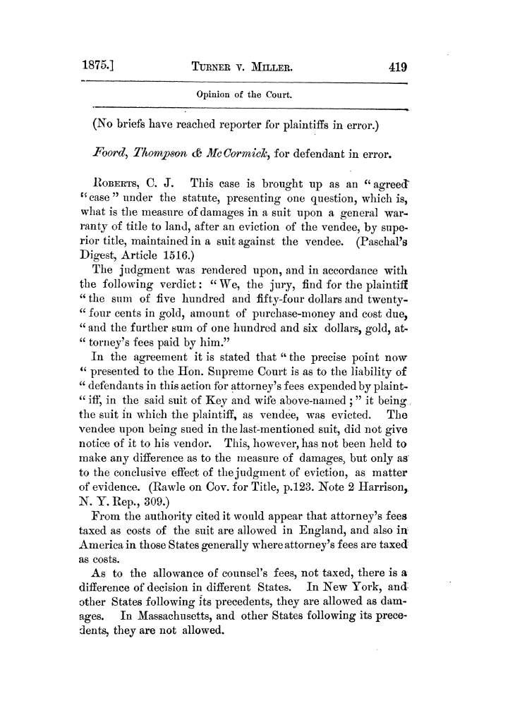 Cases argued and decided in the Supreme Court of Texas, during the latter part of the Tyler term, 1874, and the first part of the Galveston term, 1875.  Volume 42.                                                                                                      419