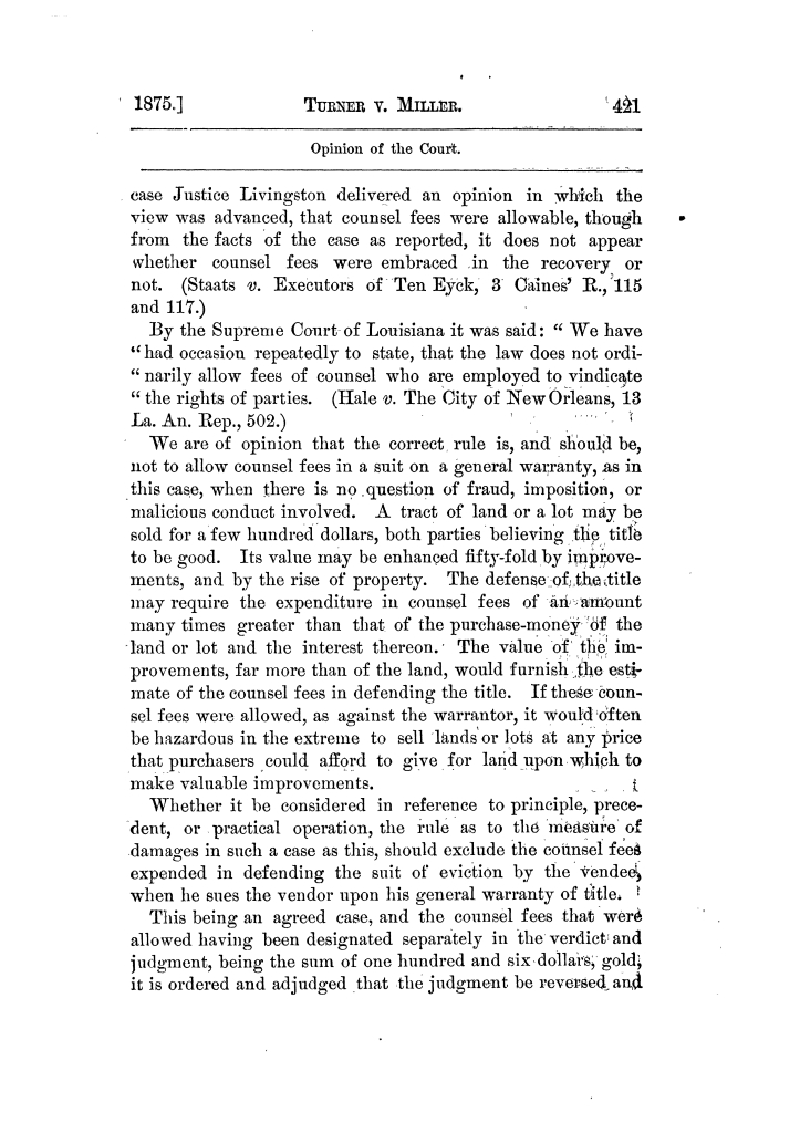 Cases argued and decided in the Supreme Court of Texas, during the latter part of the Tyler term, 1874, and the first part of the Galveston term, 1875.  Volume 42.                                                                                                      421