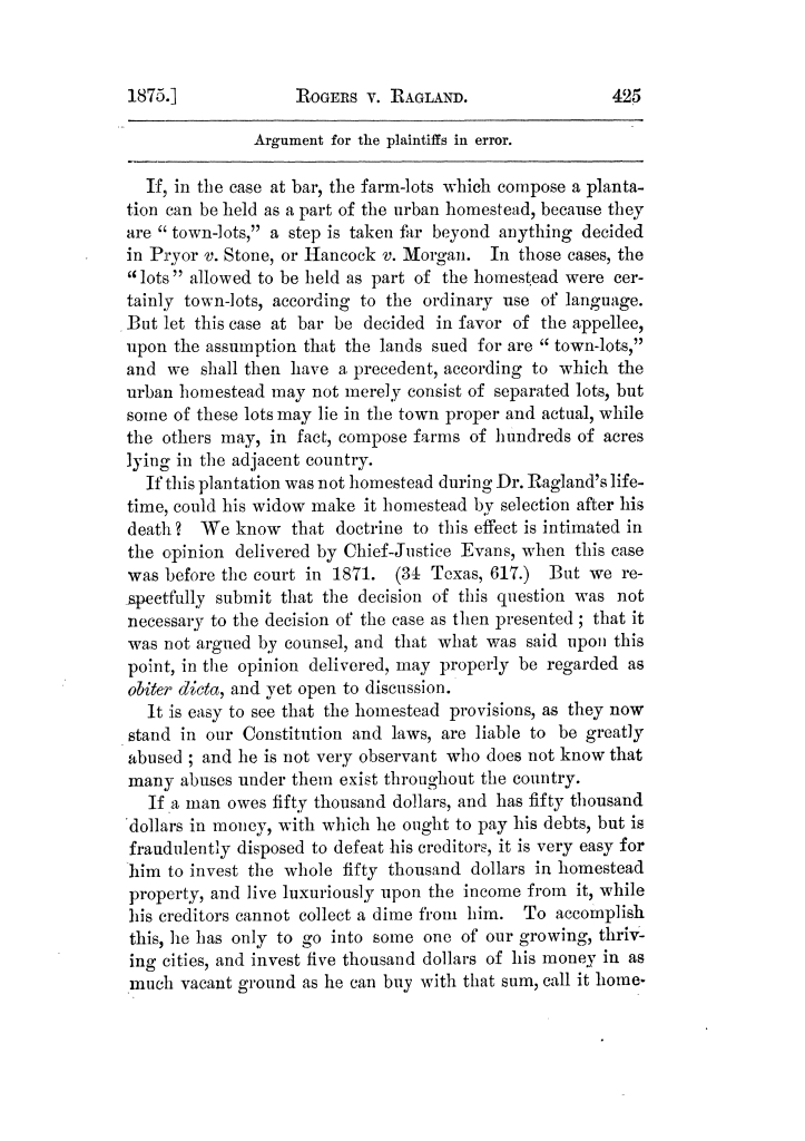 Cases argued and decided in the Supreme Court of Texas, during the latter part of the Tyler term, 1874, and the first part of the Galveston term, 1875.  Volume 42.                                                                                                      425