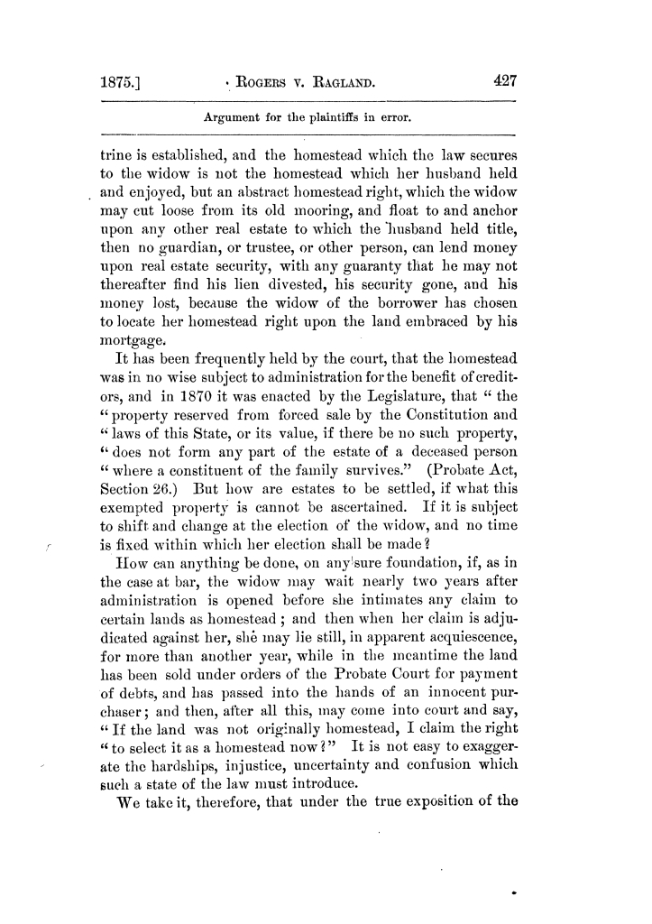 Cases argued and decided in the Supreme Court of Texas, during the latter part of the Tyler term, 1874, and the first part of the Galveston term, 1875.  Volume 42.                                                                                                      427