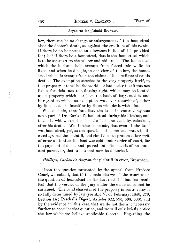 Cases argued and decided in the Supreme Court of Texas, during the latter part of the Tyler term, 1874, and the first part of the Galveston term, 1875.  Volume 42.                                                                                                      428