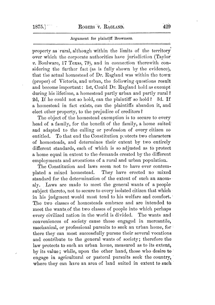Cases argued and decided in the Supreme Court of Texas, during the latter part of the Tyler term, 1874, and the first part of the Galveston term, 1875.  Volume 42.                                                                                                      429