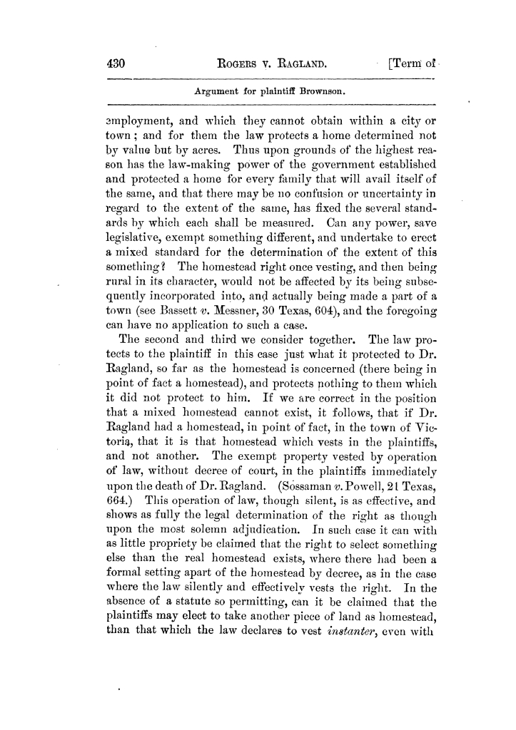 Cases argued and decided in the Supreme Court of Texas, during the latter part of the Tyler term, 1874, and the first part of the Galveston term, 1875.  Volume 42.                                                                                                      430
