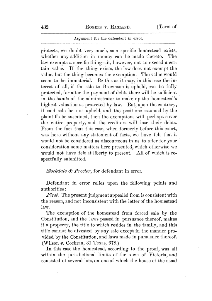 Cases argued and decided in the Supreme Court of Texas, during the latter part of the Tyler term, 1874, and the first part of the Galveston term, 1875.  Volume 42.                                                                                                      432
