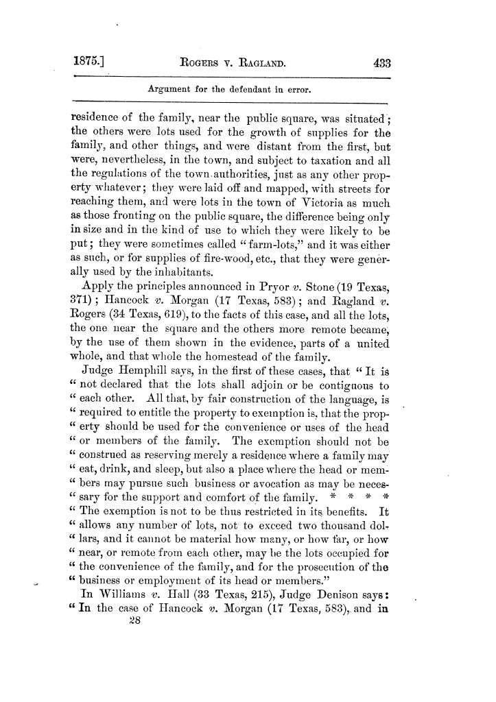 Cases argued and decided in the Supreme Court of Texas, during the latter part of the Tyler term, 1874, and the first part of the Galveston term, 1875.  Volume 42.                                                                                                      433