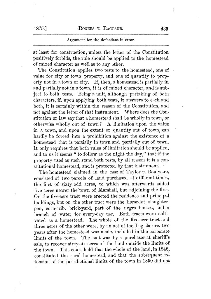 Cases argued and decided in the Supreme Court of Texas, during the latter part of the Tyler term, 1874, and the first part of the Galveston term, 1875.  Volume 42.                                                                                                      435