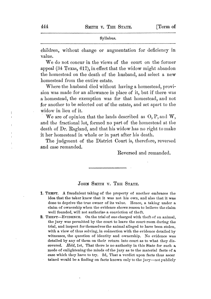 Cases argued and decided in the Supreme Court of Texas, during the latter part of the Tyler term, 1874, and the first part of the Galveston term, 1875.  Volume 42.                                                                                                      444