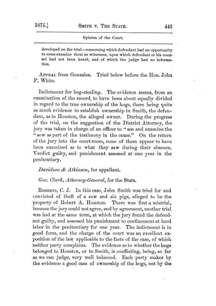 Cases argued and decided in the Supreme Court of Texas, during the latter part of the Tyler term, 1874, and the first part of the Galveston term, 1875.  Volume 42.                                                                                                      445