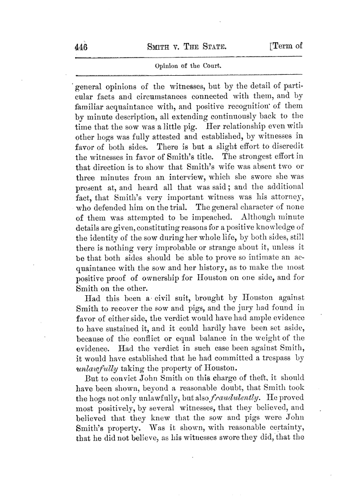 Cases argued and decided in the Supreme Court of Texas, during the latter part of the Tyler term, 1874, and the first part of the Galveston term, 1875.  Volume 42.                                                                                                      446