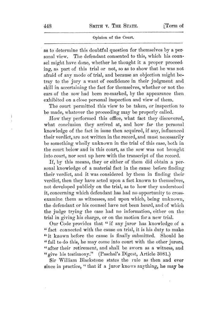 Cases argued and decided in the Supreme Court of Texas, during the latter part of the Tyler term, 1874, and the first part of the Galveston term, 1875.  Volume 42.                                                                                                      448