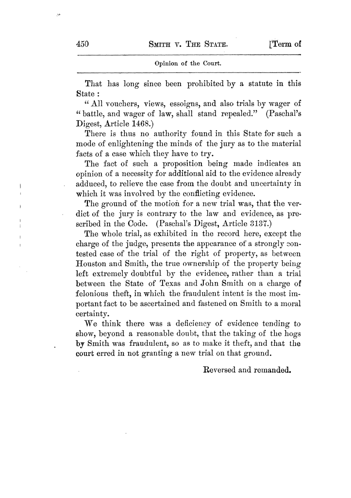 Cases argued and decided in the Supreme Court of Texas, during the latter part of the Tyler term, 1874, and the first part of the Galveston term, 1875.  Volume 42.                                                                                                      450