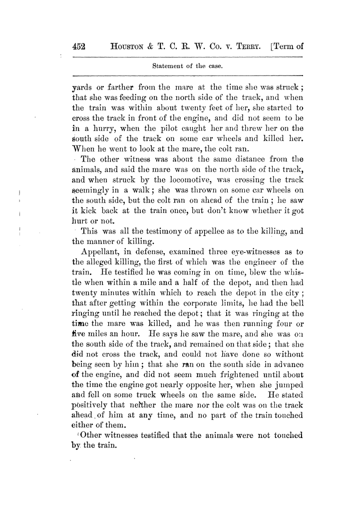 Cases argued and decided in the Supreme Court of Texas, during the latter part of the Tyler term, 1874, and the first part of the Galveston term, 1875.  Volume 42.                                                                                                      452