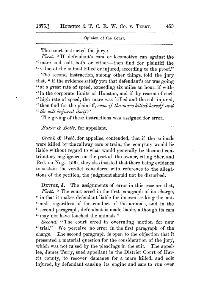 Cases argued and decided in the Supreme Court of Texas, during the latter part of the Tyler term, 1874, and the first part of the Galveston term, 1875.  Volume 42.                                                                                                      453