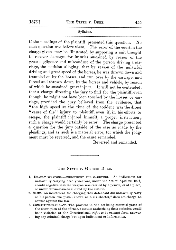 Cases argued and decided in the Supreme Court of Texas, during the latter part of the Tyler term, 1874, and the first part of the Galveston term, 1875.  Volume 42.                                                                                                      455