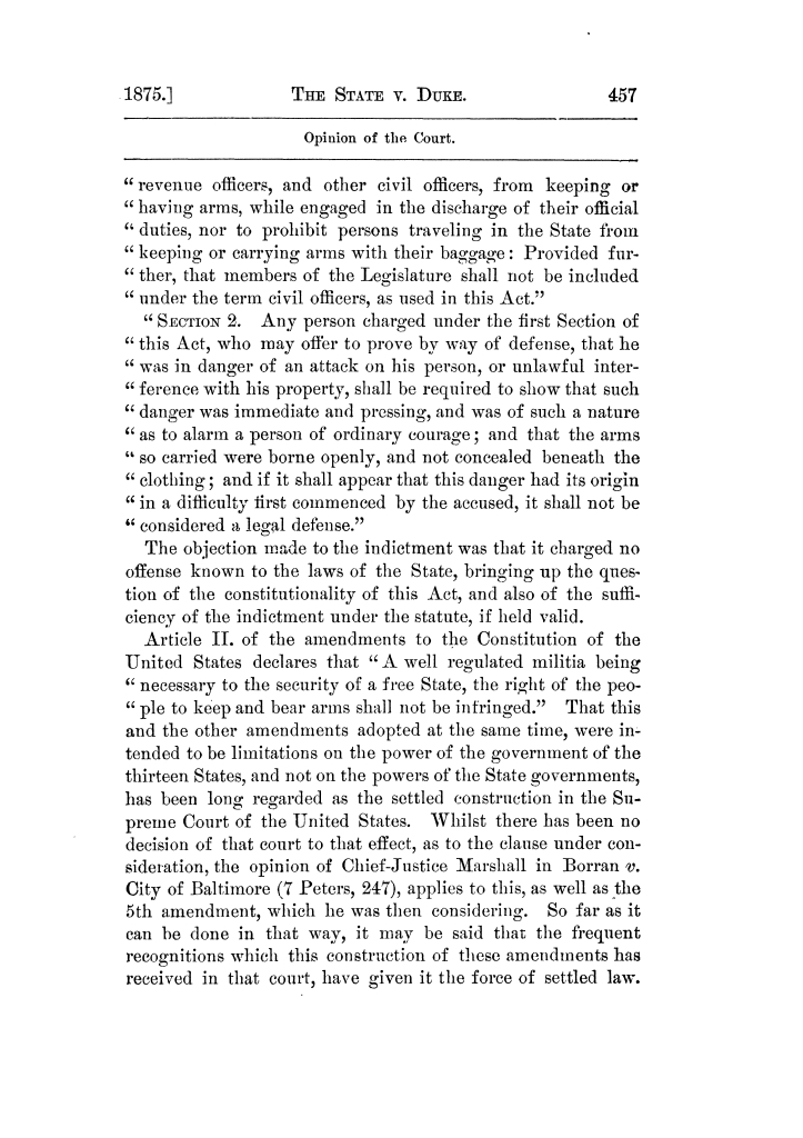 Cases argued and decided in the Supreme Court of Texas, during the latter part of the Tyler term, 1874, and the first part of the Galveston term, 1875.  Volume 42.                                                                                                      457