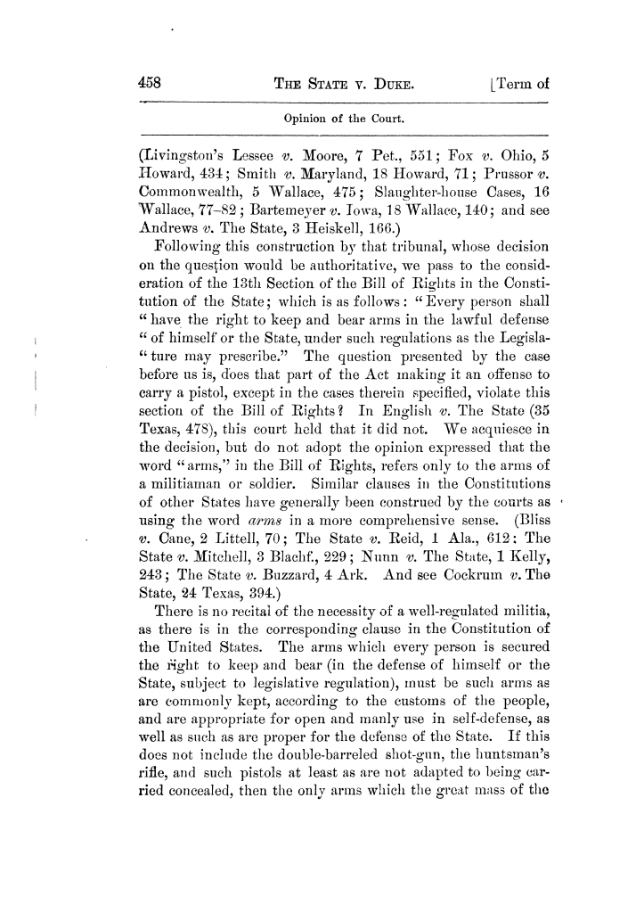 Cases argued and decided in the Supreme Court of Texas, during the latter part of the Tyler term, 1874, and the first part of the Galveston term, 1875.  Volume 42.                                                                                                      458