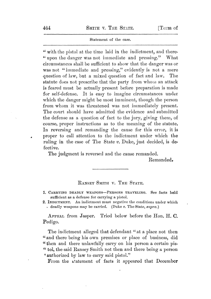 Cases argued and decided in the Supreme Court of Texas, during the latter part of the Tyler term, 1874, and the first part of the Galveston term, 1875.  Volume 42.                                                                                                      464