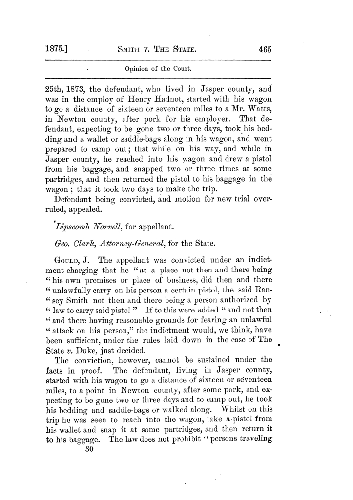 Cases argued and decided in the Supreme Court of Texas, during the latter part of the Tyler term, 1874, and the first part of the Galveston term, 1875.  Volume 42.                                                                                                      465