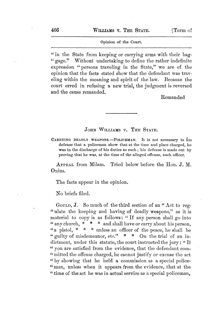 Cases argued and decided in the Supreme Court of Texas, during the latter part of the Tyler term, 1874, and the first part of the Galveston term, 1875.  Volume 42.                                                                                                      466