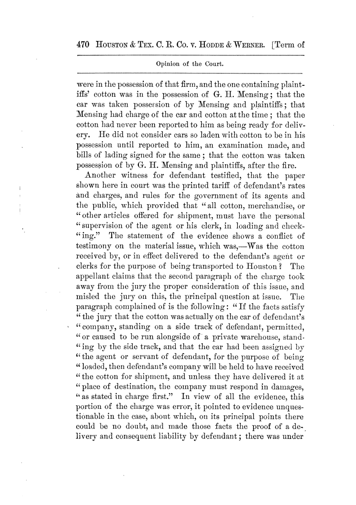 Cases argued and decided in the Supreme Court of Texas, during the latter part of the Tyler term, 1874, and the first part of the Galveston term, 1875.  Volume 42.                                                                                                      470