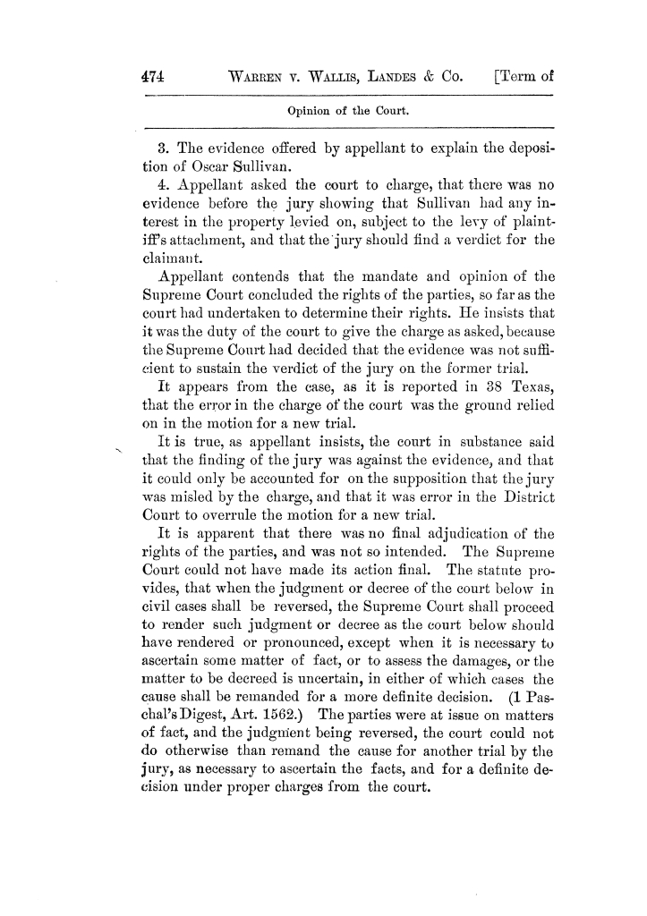 Cases argued and decided in the Supreme Court of Texas, during the latter part of the Tyler term, 1874, and the first part of the Galveston term, 1875.  Volume 42.                                                                                                      474