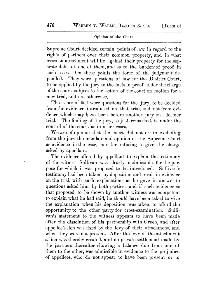 Cases argued and decided in the Supreme Court of Texas, during the latter part of the Tyler term, 1874, and the first part of the Galveston term, 1875.  Volume 42.                                                                                                      476