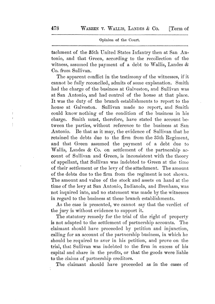 Cases argued and decided in the Supreme Court of Texas, during the latter part of the Tyler term, 1874, and the first part of the Galveston term, 1875.  Volume 42.                                                                                                      478