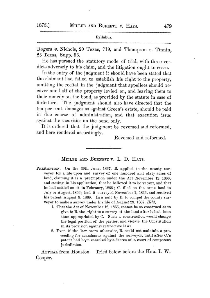 Cases argued and decided in the Supreme Court of Texas, during the latter part of the Tyler term, 1874, and the first part of the Galveston term, 1875.  Volume 42.                                                                                                      479