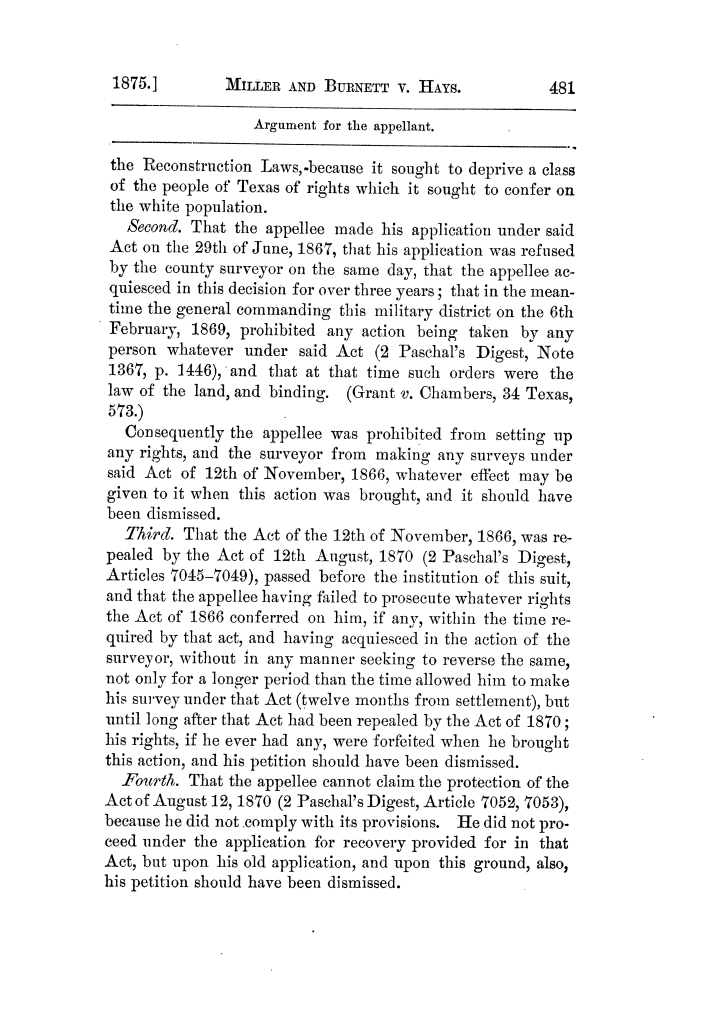 Cases argued and decided in the Supreme Court of Texas, during the latter part of the Tyler term, 1874, and the first part of the Galveston term, 1875.  Volume 42.                                                                                                      481