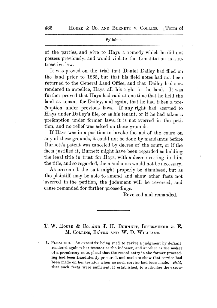 Cases argued and decided in the Supreme Court of Texas, during the latter part of the Tyler term, 1874, and the first part of the Galveston term, 1875.  Volume 42.                                                                                                      486