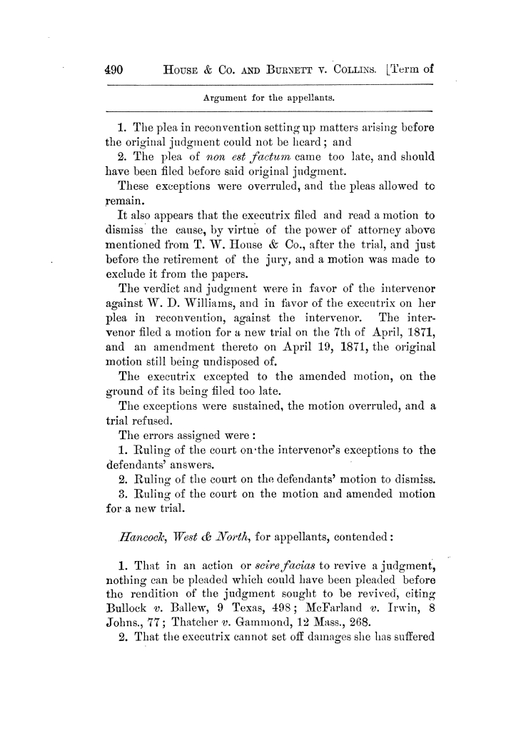 Cases argued and decided in the Supreme Court of Texas, during the latter part of the Tyler term, 1874, and the first part of the Galveston term, 1875.  Volume 42.                                                                                                      490