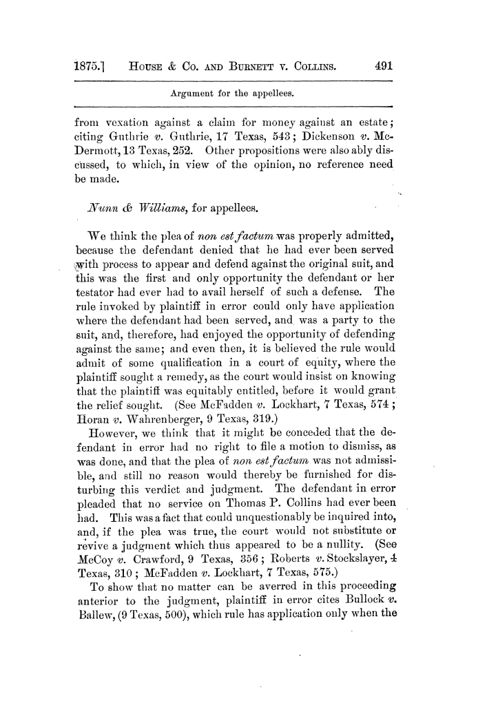 Cases argued and decided in the Supreme Court of Texas, during the latter part of the Tyler term, 1874, and the first part of the Galveston term, 1875.  Volume 42.                                                                                                      491