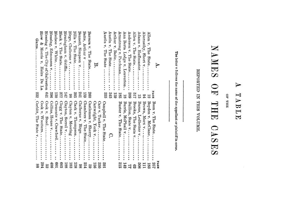 Cases argued and decided in the Supreme Court of Texas, during the latter part of the Tyler term, 1874, and the first part of the Galveston term, 1875.  Volume 42.                                                                                                      V