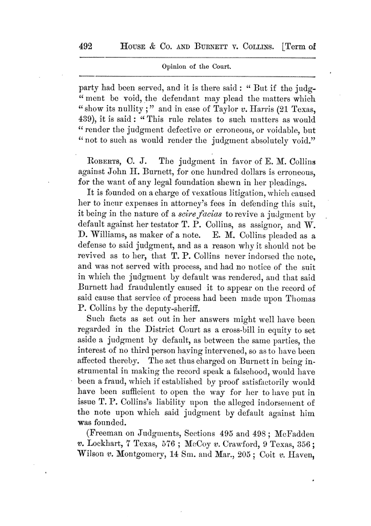 Cases argued and decided in the Supreme Court of Texas, during the latter part of the Tyler term, 1874, and the first part of the Galveston term, 1875.  Volume 42.                                                                                                      492