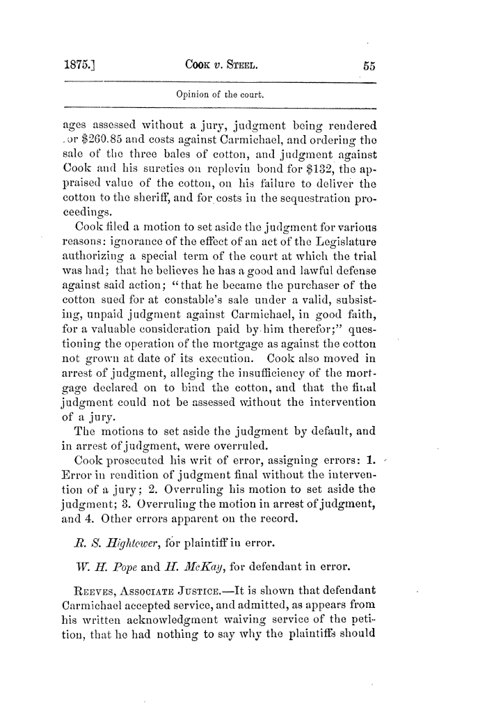 Cases argued and decided in the Supreme Court of Texas, during the latter part of the Tyler term, 1874, and the first part of the Galveston term, 1875.  Volume 42.                                                                                                      55