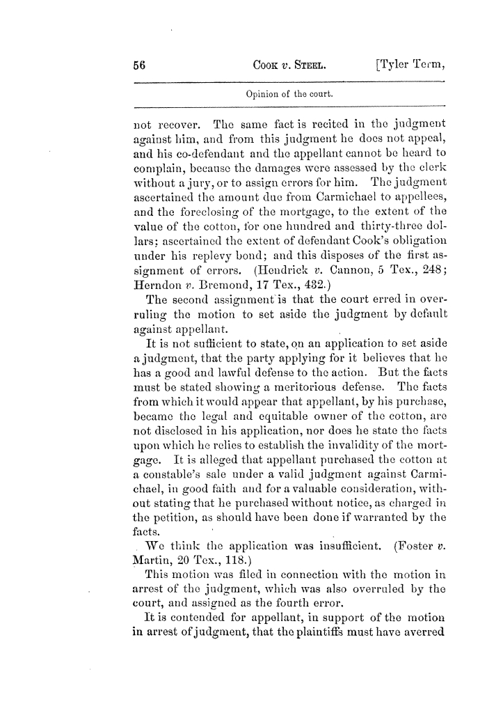 Cases argued and decided in the Supreme Court of Texas, during the latter part of the Tyler term, 1874, and the first part of the Galveston term, 1875.  Volume 42.                                                                                                      56