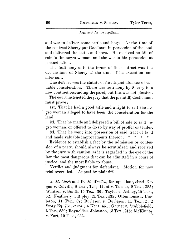 Cases argued and decided in the Supreme Court of Texas, during the latter part of the Tyler term, 1874, and the first part of the Galveston term, 1875.  Volume 42.                                                                                                      60