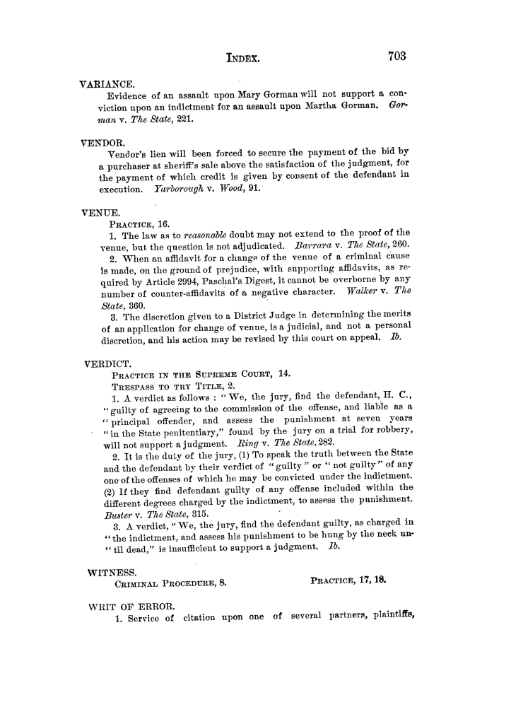 Cases argued and decided in the Supreme Court of Texas, during the latter part of the Tyler term, 1874, and the first part of the Galveston term, 1875.  Volume 42.                                                                                                      703