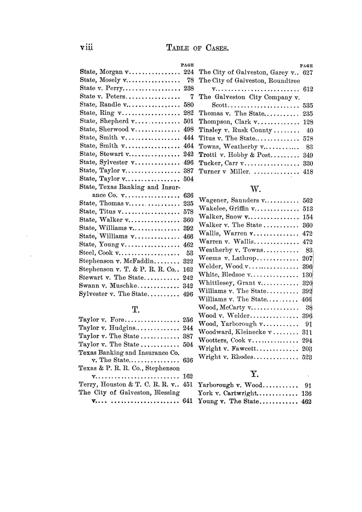 Cases argued and decided in the Supreme Court of Texas, during the latter part of the Tyler term, 1874, and the first part of the Galveston term, 1875.  Volume 42.                                                                                                      VIII