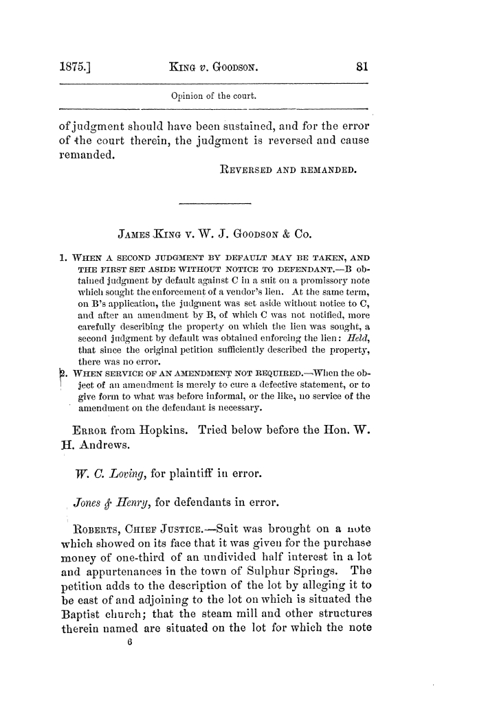Cases argued and decided in the Supreme Court of Texas, during the latter part of the Tyler term, 1874, and the first part of the Galveston term, 1875.  Volume 42.                                                                                                      81