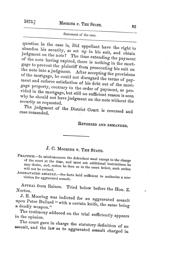 Cases argued and decided in the Supreme Court of Texas, during the latter part of the Tyler term, 1874, and the first part of the Galveston term, 1875.  Volume 42.                                                                                                      85