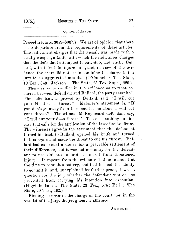 Cases argued and decided in the Supreme Court of Texas, during the latter part of the Tyler term, 1874, and the first part of the Galveston term, 1875.  Volume 42.                                                                                                      87