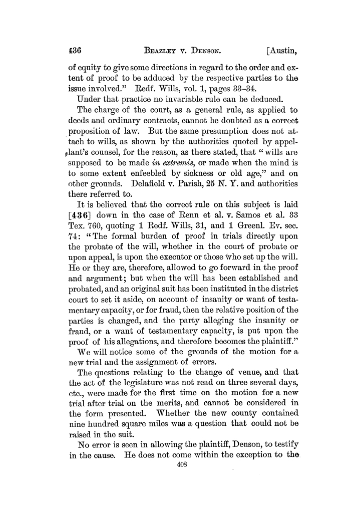 Cases argued and decided in the Supreme Court of the State of Texas, during the Austin session, 1874.  Volume 40.                                                                                                      408