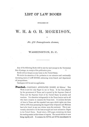Reports of cases argued and decided in the Supreme Court of the State of Texas, during the Tyler and Austin sesions, 1867, and part of the Galveson session, 1868.  Volume 30.