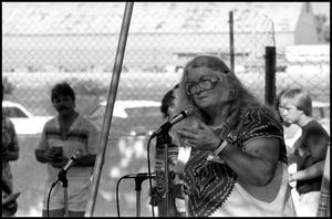 Primary view of object titled '[Storyteller Elizabeth Ellis Performing at the Texas Folklife Festival]'.