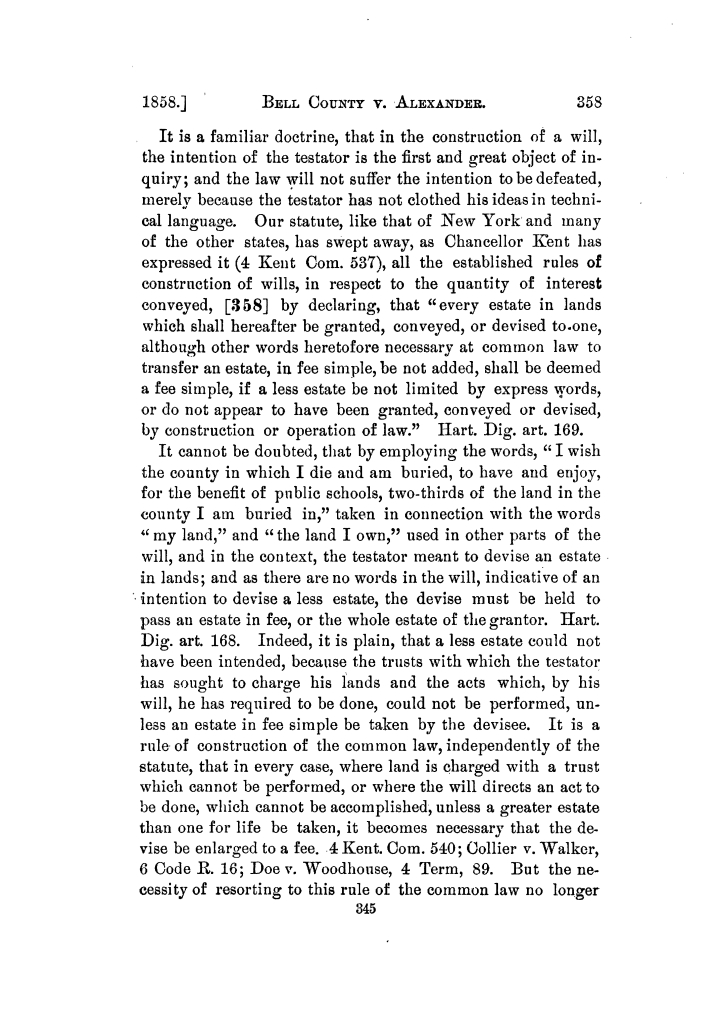 Reports of cases argued and decided in the Supreme Court of the State of Texas during Austin session, 1858, and part of Galveston session, 1859. Volume 22.                                                                                                      345