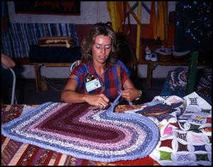 Primary view of object titled '[Jan Lackey Braiding a Rug]'.